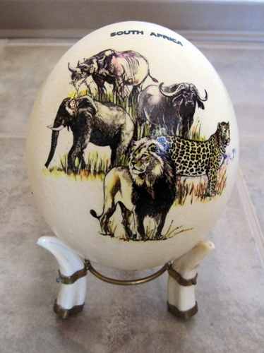 African Art and Hand Crafts, South African Ostrich Eggs and Stands ...