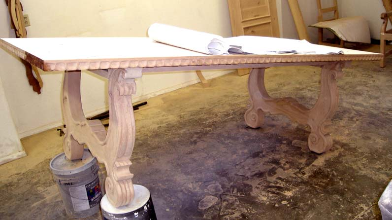 Unfinished Hand Carved Mediterranean Dining Table