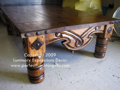 Spanish Galleon Coffee Table With Metal Nail Head Accents