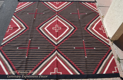 Square Chief 8x8 Ft Red Brn Pak 517 Hand Woven Wool Rug